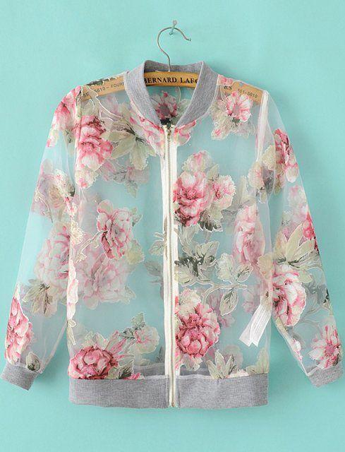 Grey Long Sleeve Floral Sheer Organza Jacket - Sheinside.com
