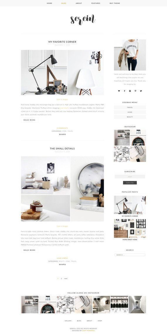 Wordpress Theme - Serein - Responsive Wordpress Blog Design - Woocommerce Wordpress Template - Wordp
