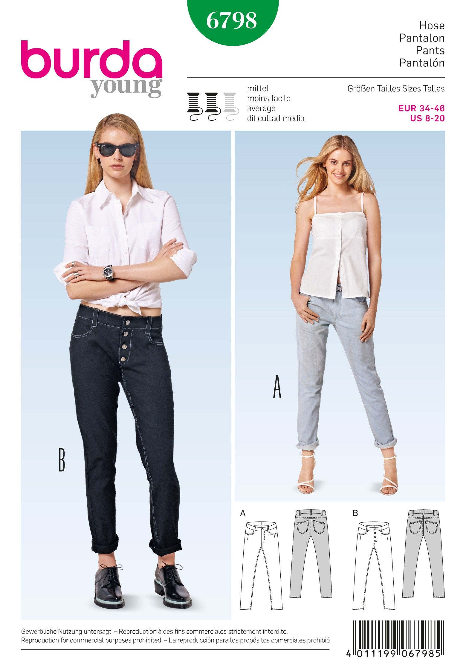 B6798 - Burda Style Trousers, Jumpsuits (Young) | Sewing | Pinterest