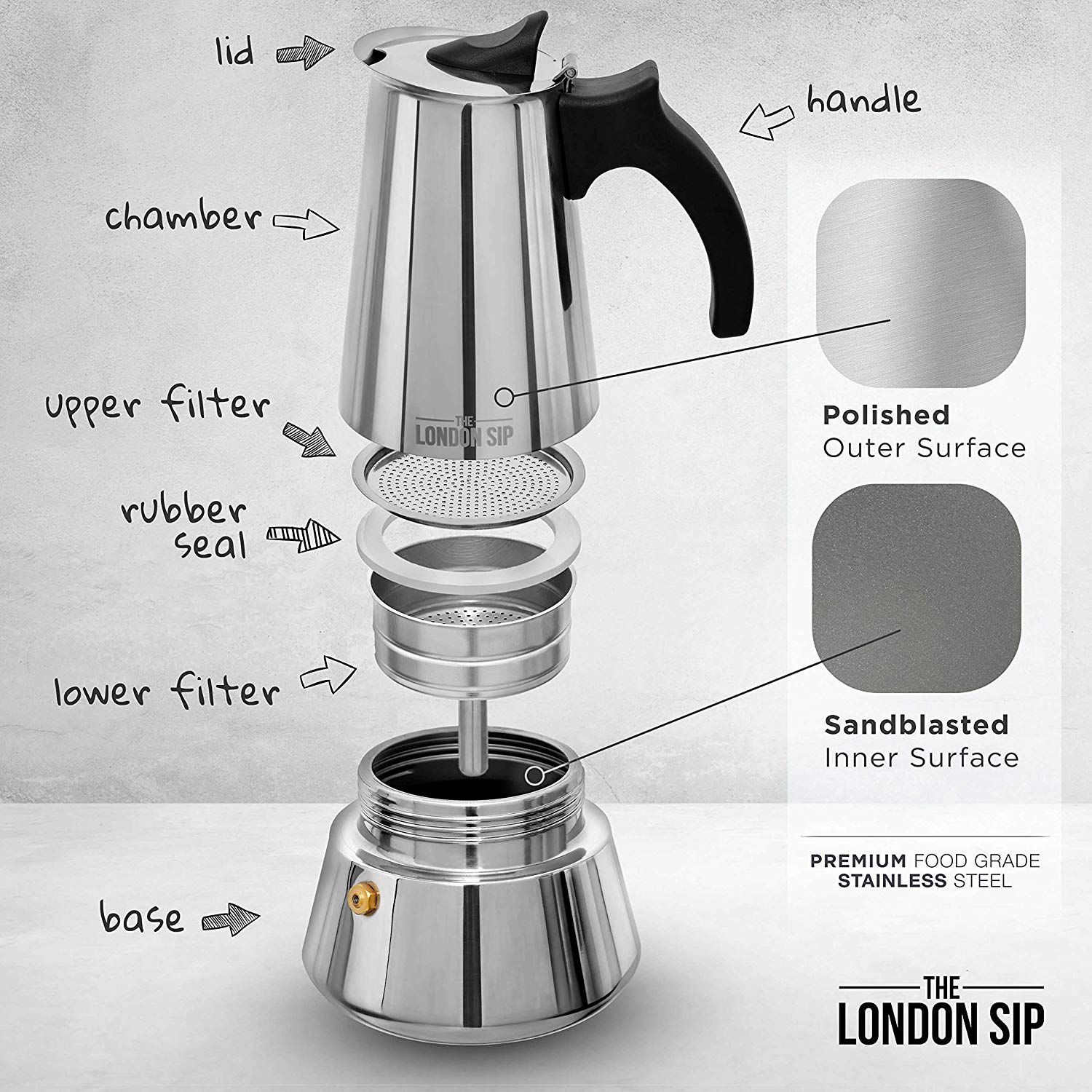 Stainless Steel Induction Stovetop Espresso Maker 6 Cup