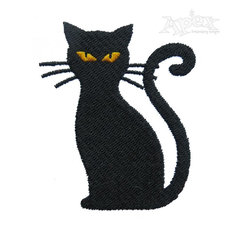 Halloween Black Cat Embroidery Design Cat Embroidery Design Black Cat Silhouette Animal Embroidery Designs