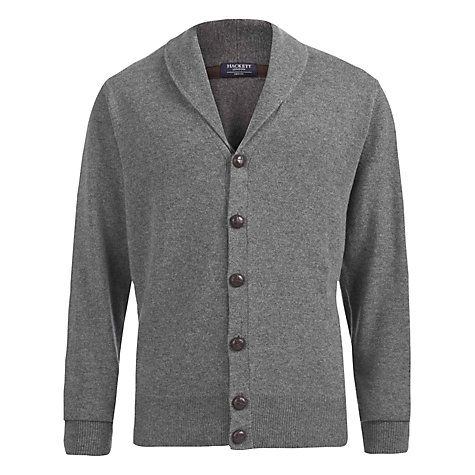 Buy Hackett London Shawl Collar Cashmere Wool Cardigan, Grey ...