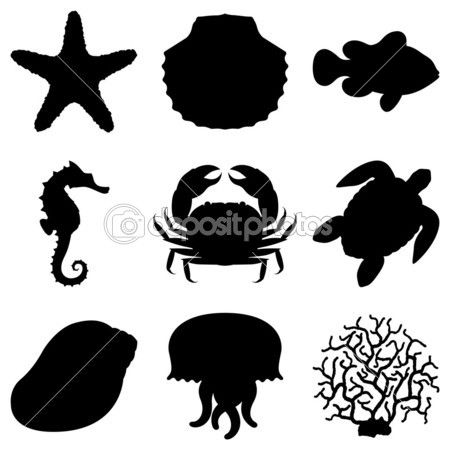 Sea Animals Stock Vector C Timur Syrtsov 3439909 Animal Silhouette Turtle Silhouette Silhouette Art