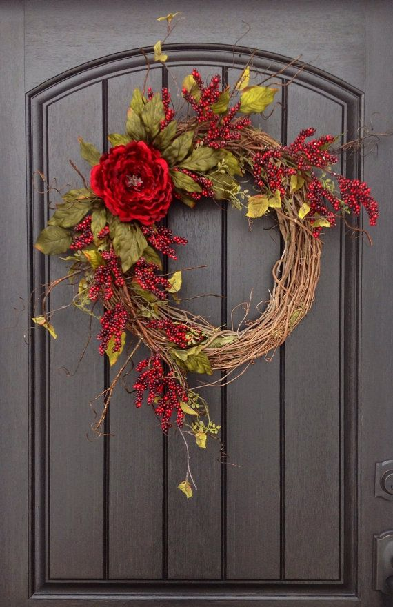 Printemps t automne guirlande berry rouge branches for Decoration porte rouge