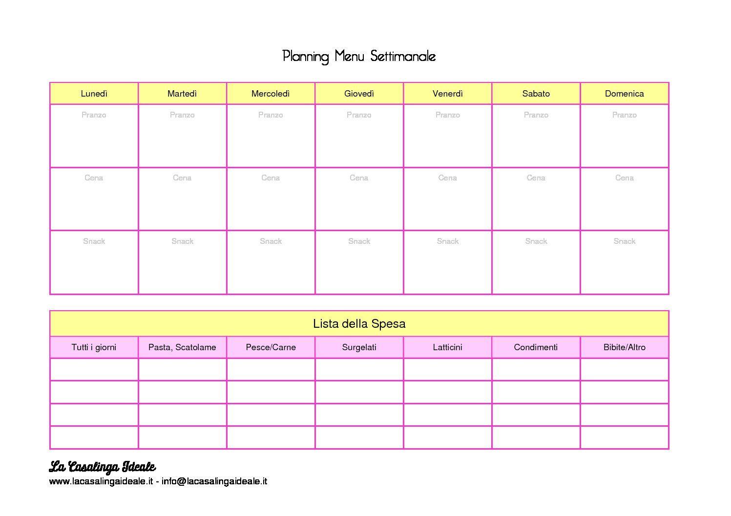 Planning Menu Settimanale e Lista della Spesa Menù