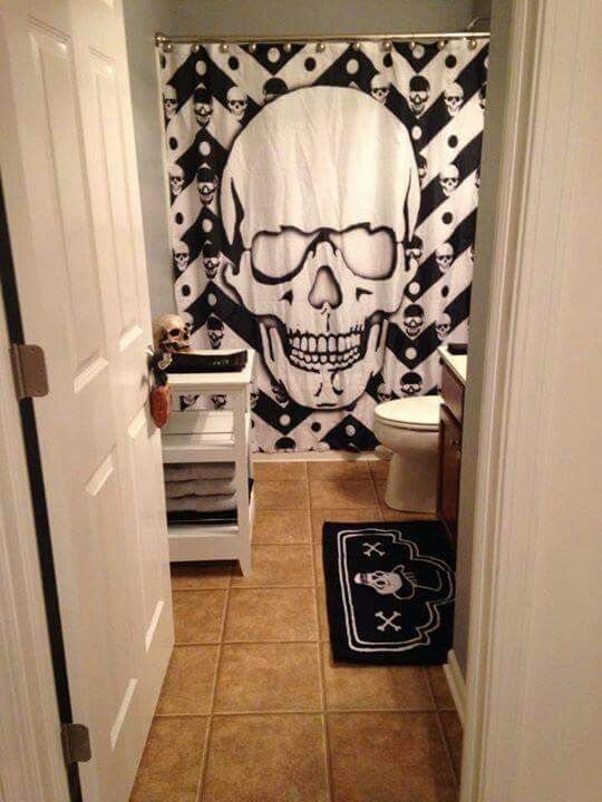 Halloween Bathroom Decorations Shower Curtain Skull Curtains