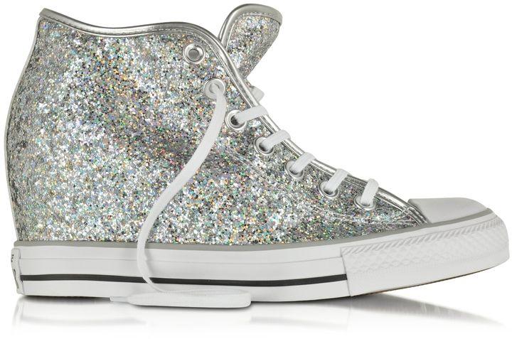converse all star mid lux gliteer silver