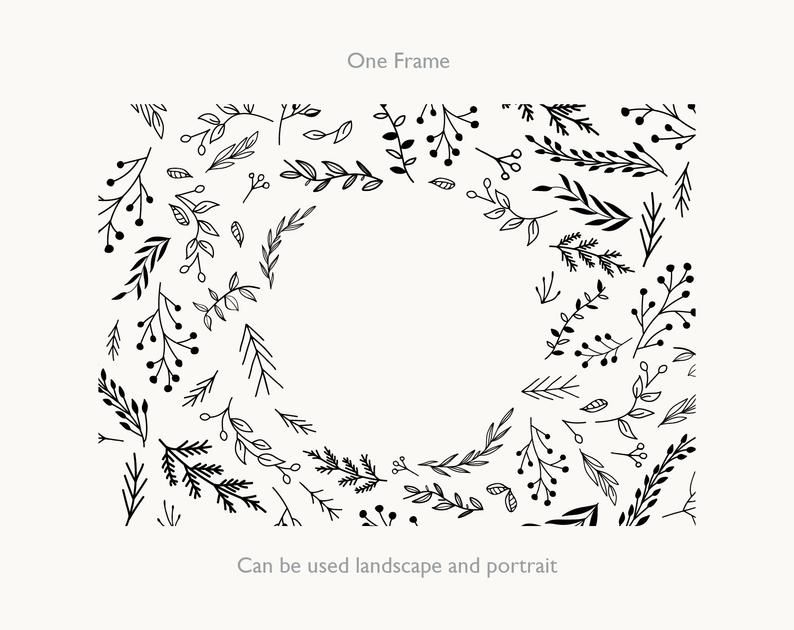 Photo of Hand Drawn Leaf Border Clipart Frame Black Ink Botanical, Floral Wreath illustration – JPEG PNG Ai Eps , free commercial use, Wedding art