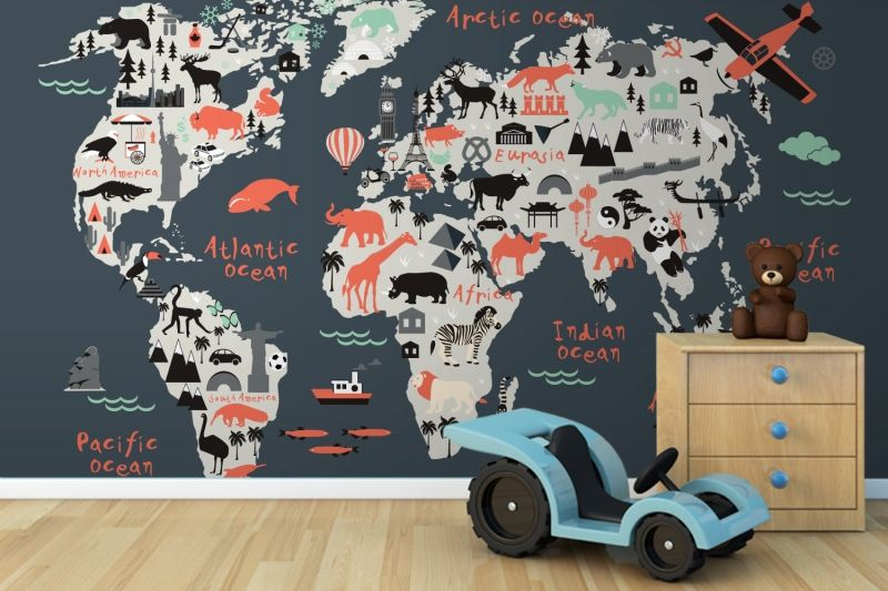 Landmark kids map mural muralswallpaper wallpaper room kids landmark world map mural wallpaper gumiabroncs Gallery