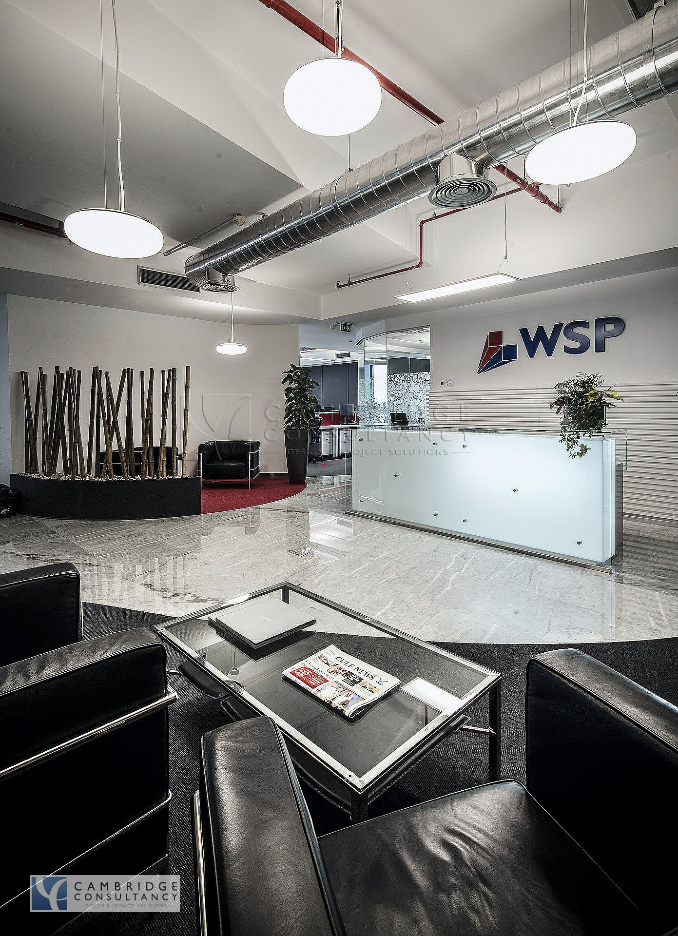 WSP office Modern design, open ceiling, industrial aluminium spiral