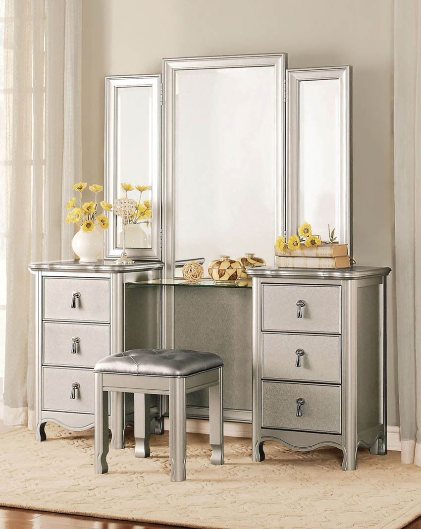 Vanities and makeup tables annika champagne finish wood