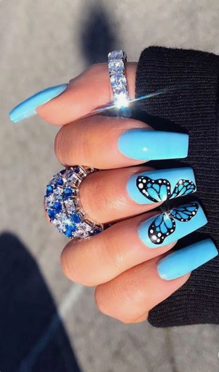 Medium Acrylic Nails Designs : medium, acrylic, nails, designs, Glittering, Acrylic, Nails, Medium-Length, First-Hand, Fashion, Females, Coffin, Shape, Nails,, Orange