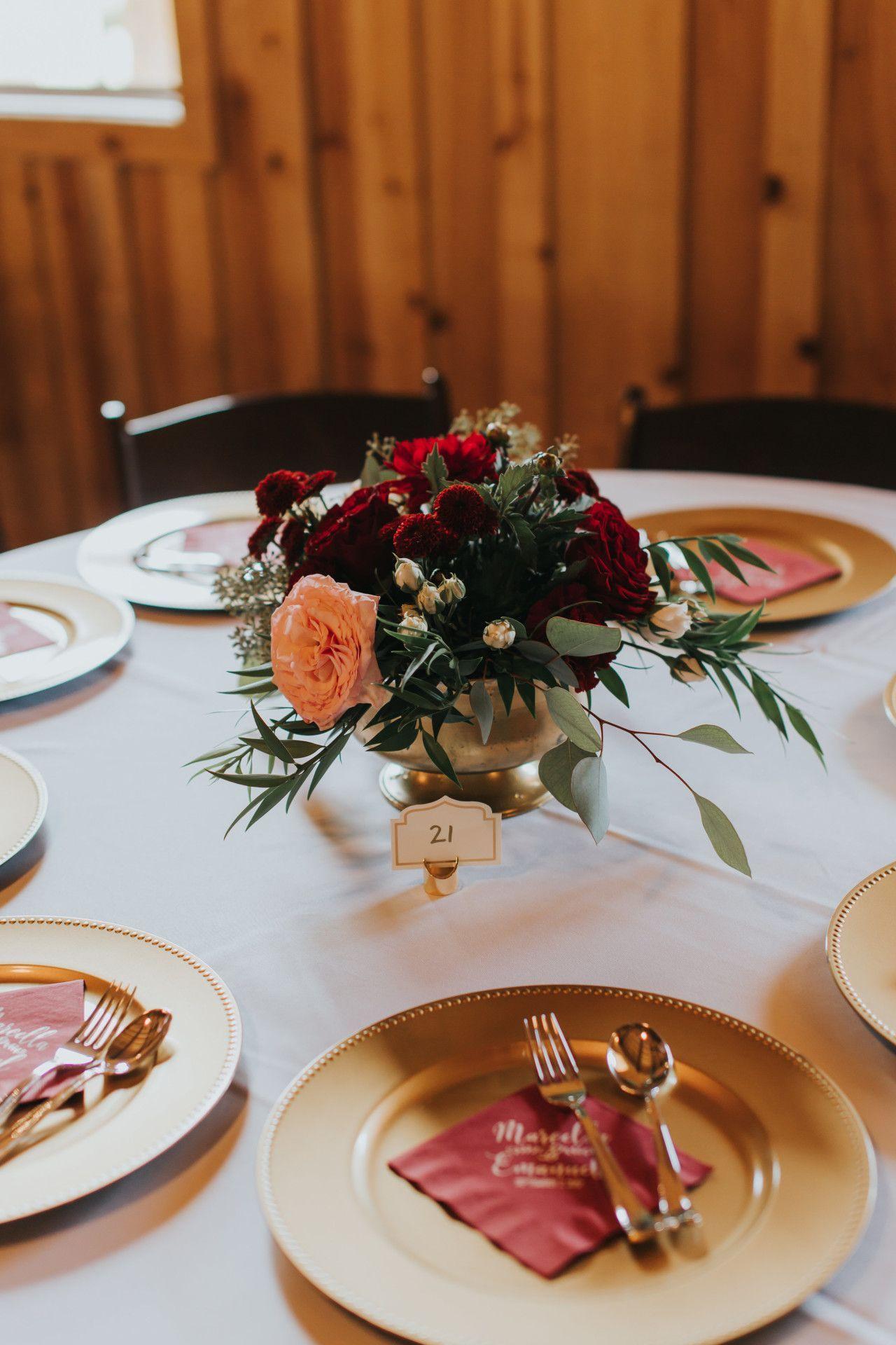Wedding decor maroon  deep red  blush pink wedding centerpieces  gold  maroon wedding