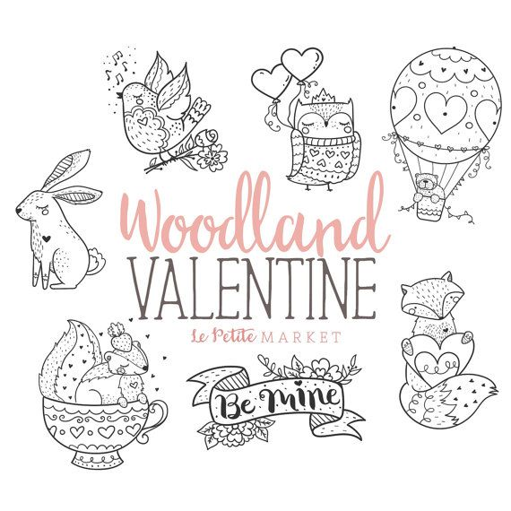 Wald Valentinstag Clipart Set, Valentine Skunk, Valentin Fuchs, Valentine Eule ClipArt, Valentine Grafik digitale Briefmarken Planer Grafiken #dinosaurillustration