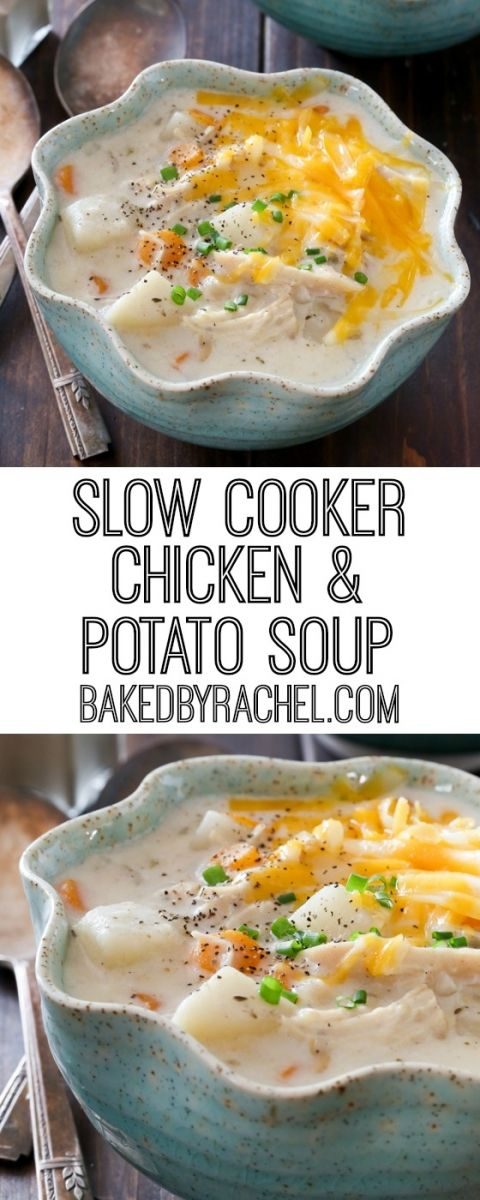 Creamy Slow Cooker Chicken and Potato Soup #potatosoup