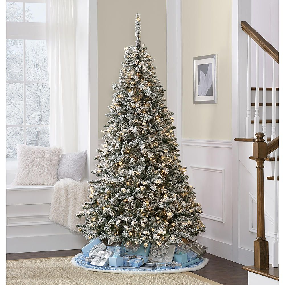 7\' Colorado Flocked Pine Christmas Tree—Kmart | Christmas ...