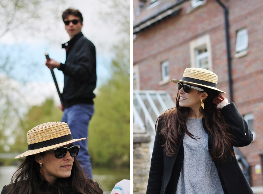 When punting in Oxford, you need to wear: PAAR earrings, new look gray tshirt, a straw hat, comfy skinny jeans and an all saints black wool coat.