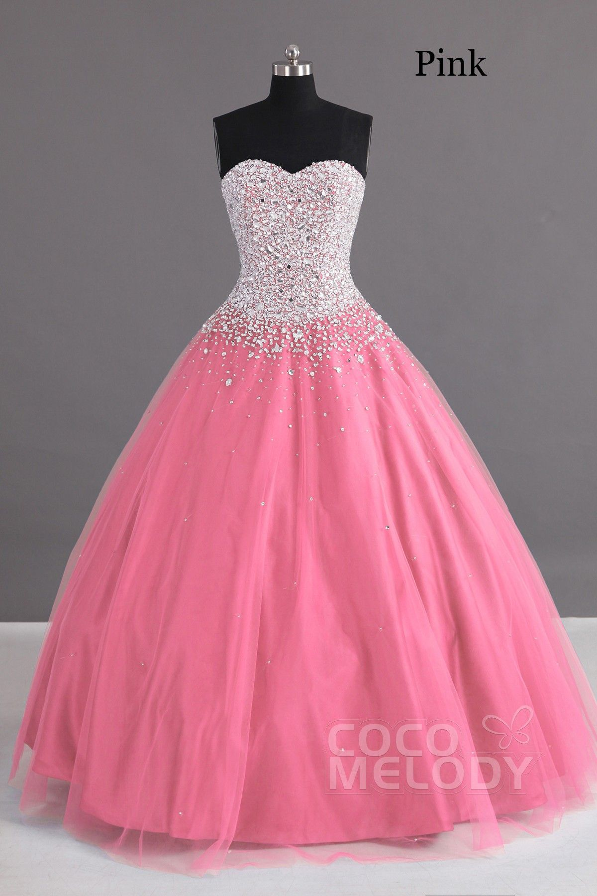 Charming Ball Gown Sweetheart Floor Length Tulle Lace-up Corset Quinceanera  Dress with Crystals COLF1400F 570bbe061542