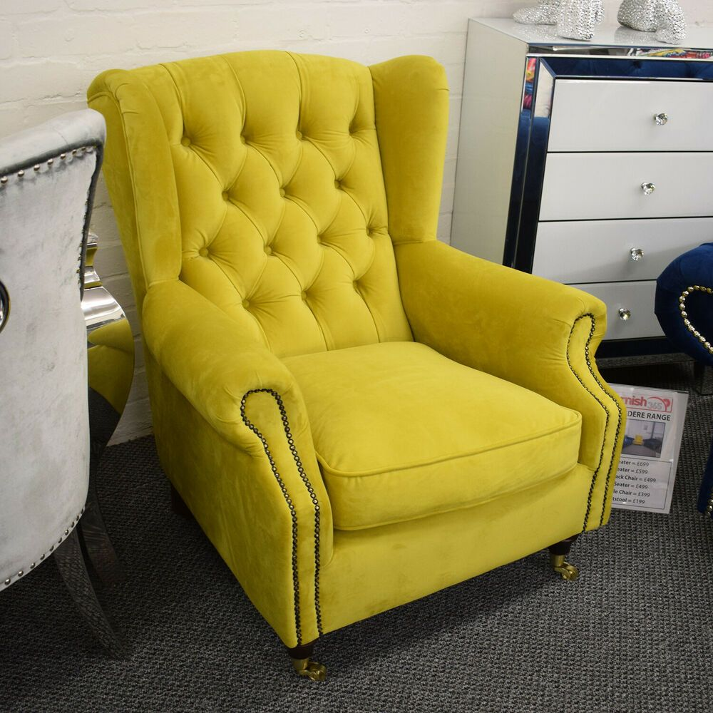 Belvedere deep studded wingback chair mustard yellow