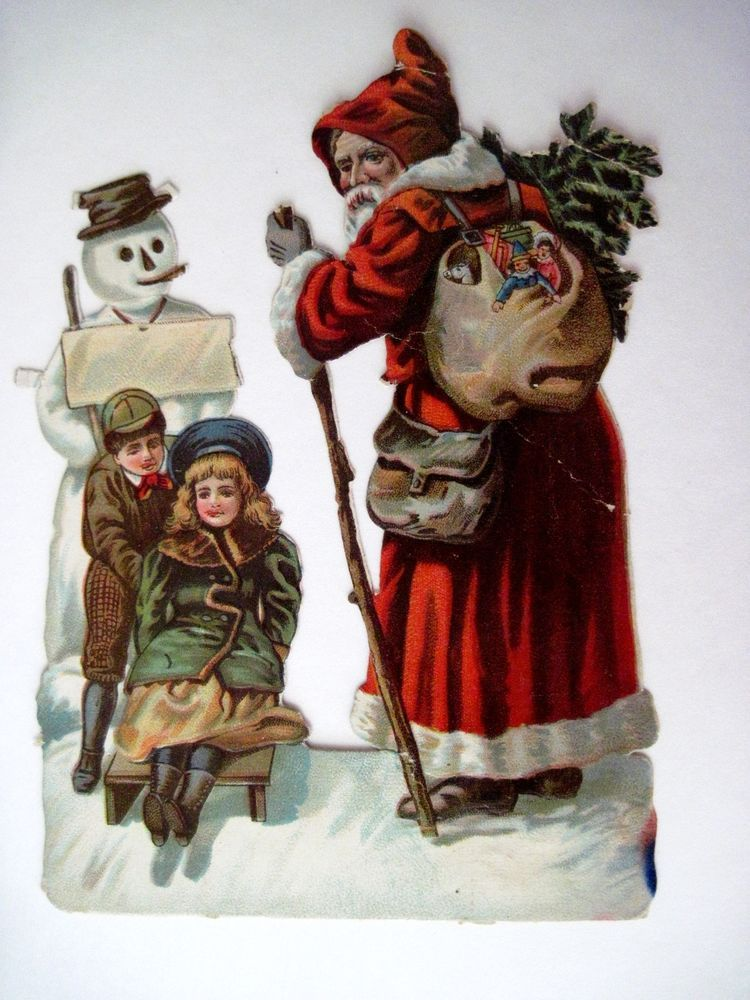 Vintage Christmas Lights Winter House children sled snowman