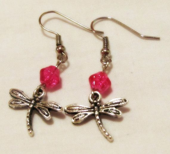 Silver Dragonfly Pink Beaded Handmade Earrings by CraftyChic90, $2.50