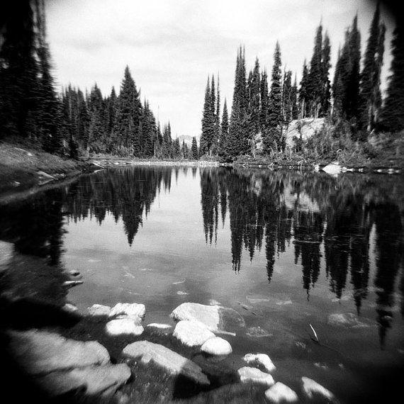 Forest Photo Black White Landscape Decor Holga Nature Photo Lake Reflection Photo Forest Dreamy Trees Landscape British Columbia Nature Photos Beautiful Photography Nature Forest Photos
