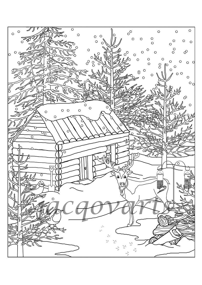 Christmas Colouring Page Log Cabin Reindeer And Snow Colouring