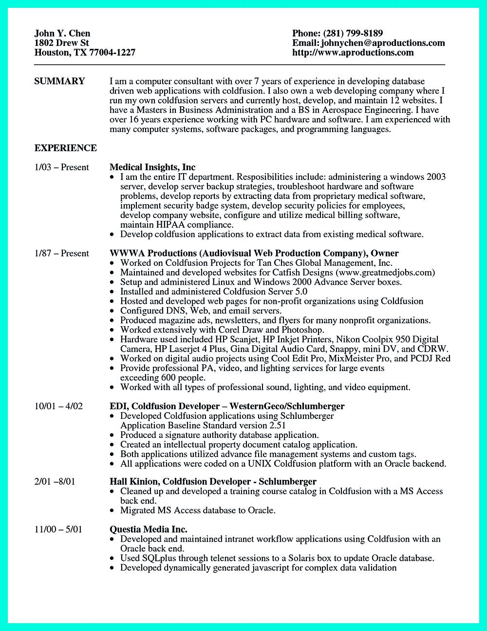 Computer Programmer Resume Has Some Paragraphs That Focuses On The Project  Management, Object Oriented Programming