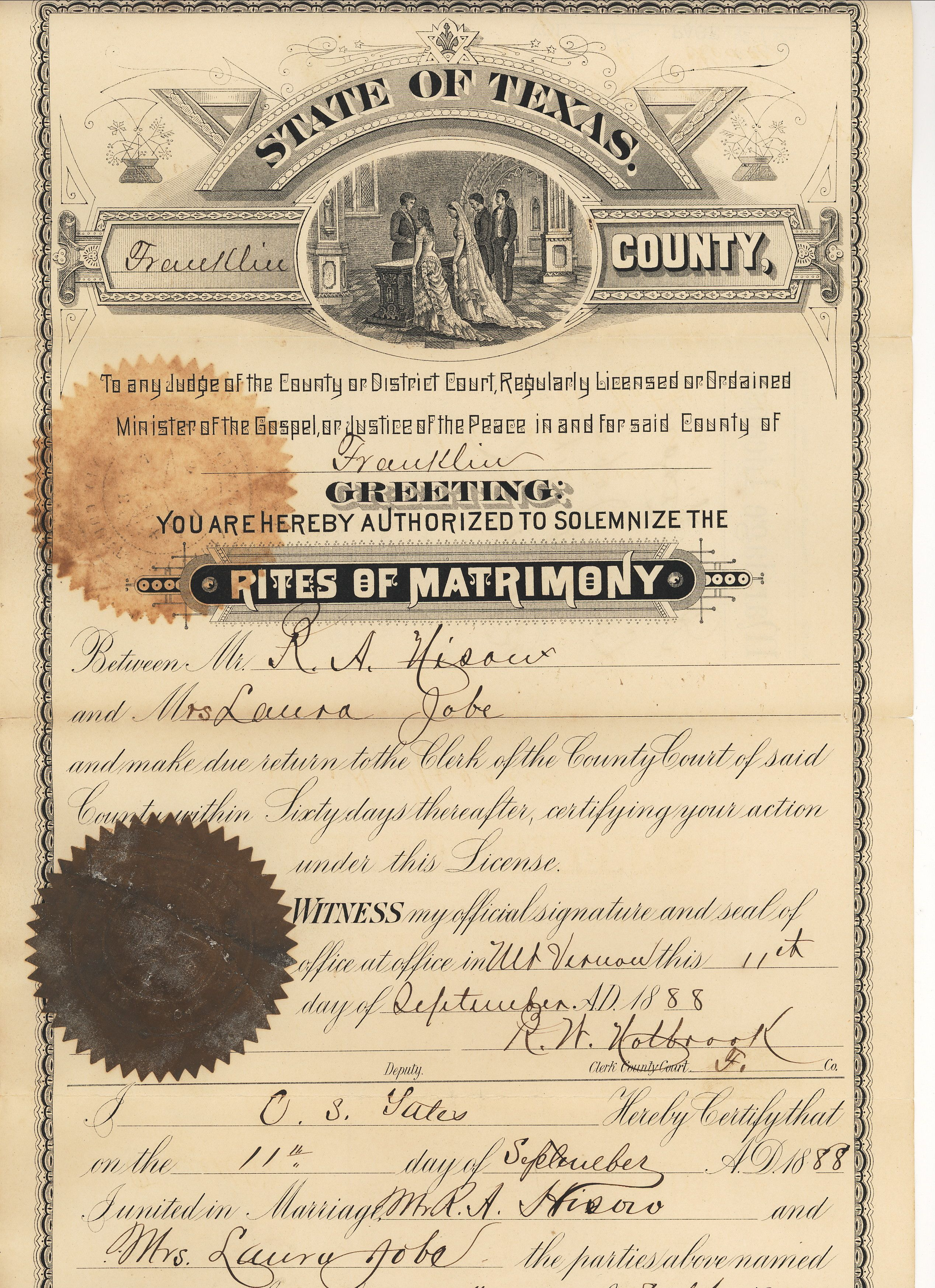 Robert A Hisaw And Mrs Laura B Hopkins Jobe Marriage Certificate Franklin Co Texas 1888 Robert Was The So Mary And Martha Vintage Photos Marriage License