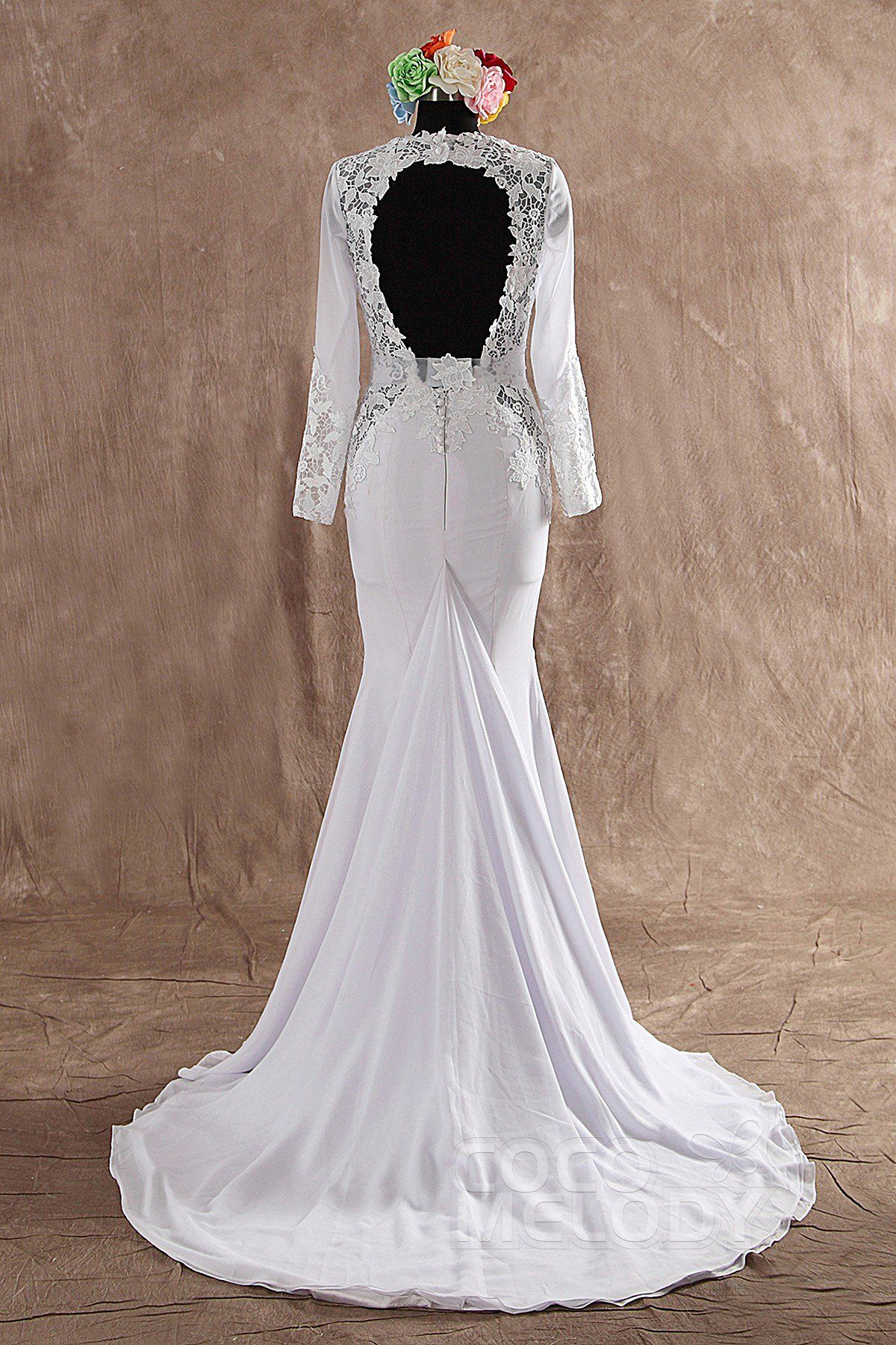 Fashion Trumpet-Mermaid V-neck Open Back In Stock Court Train Chiffon Long Sleeve Wedding Dress with Appliques LWAT14002IS #weddingdresses #cocomelody