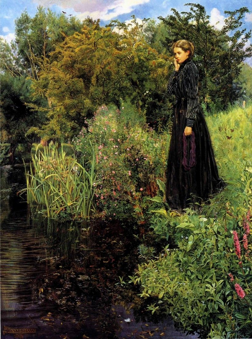 The Athenaeum - The Boer War, 1900 (John Byam Liston Shaw, A.R.W.S. - )>>>>Notice the yarn in she is holding>>>