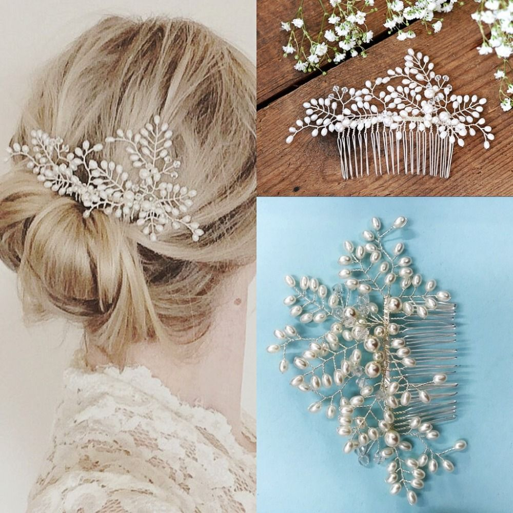Gorgeous Wired Rhinestones Crystals Pearls Flower Wedding Hair Comb