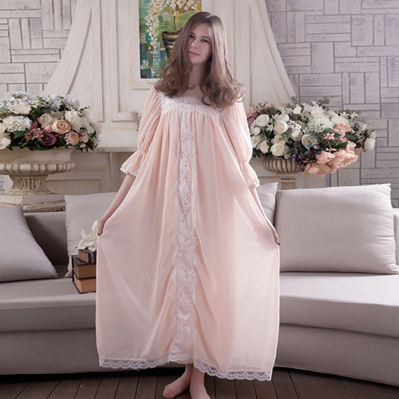 2017 New Summer Nightdress Women Sleepwear Gown Princess Night Wear Royal Vintage  Lady Nightgown Dress Free Shipping abe252bda