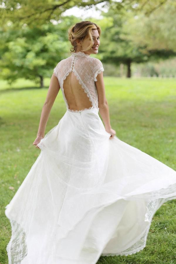 b46f92fd76a statement back wedding dress with lace cutout and cap sleeves and long