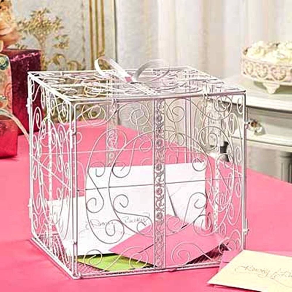 WHITE Or BLACK Metal Scroll Money CARD BOX Wedding Reception Party Wishing Well