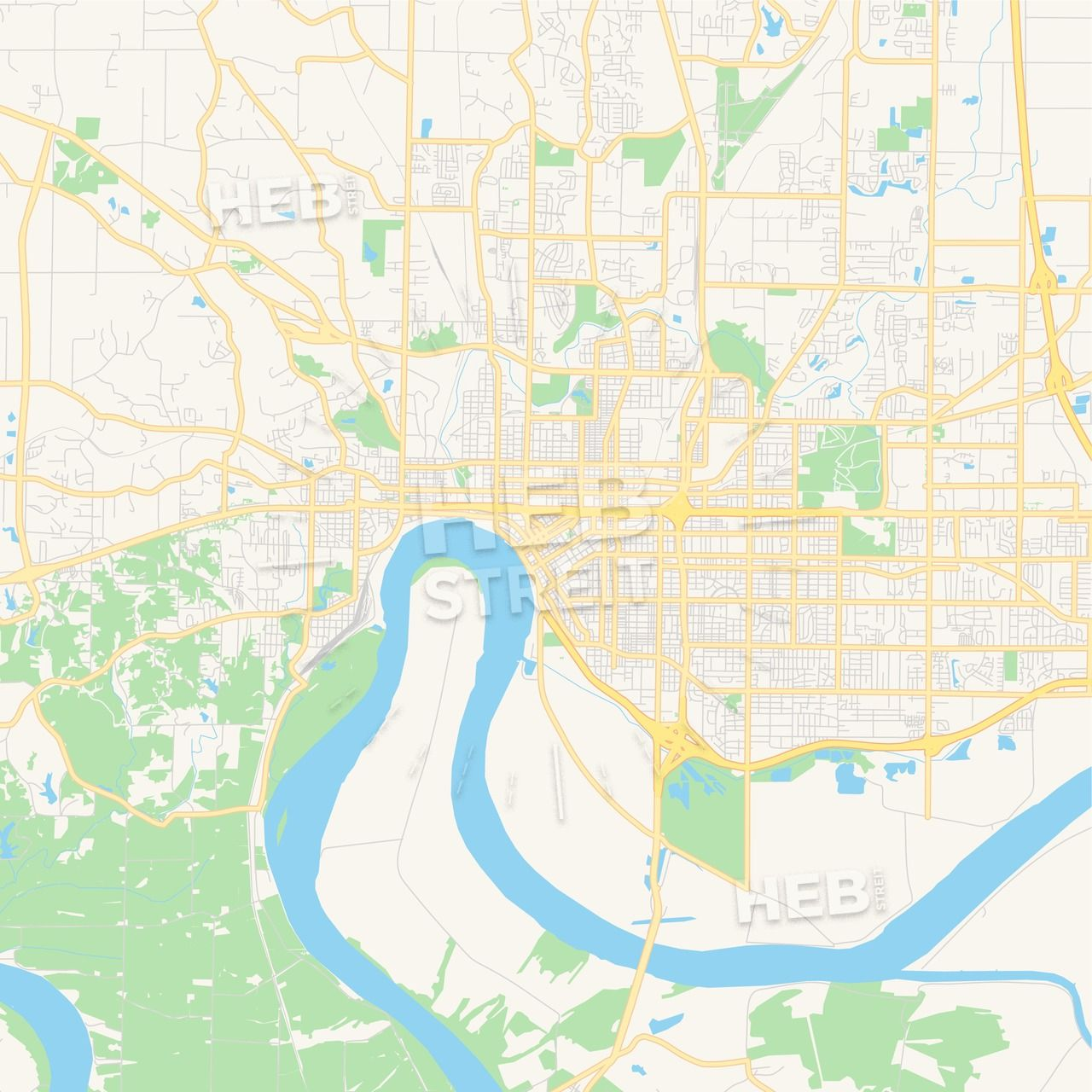 Empty vector map of Evansville, Indiana, USA | Maps Vector