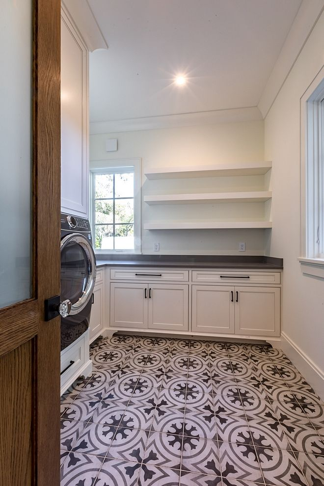 Small Comfort Room Tiles Design: Laundry Room The Laundry Features Cement Floor Tile
