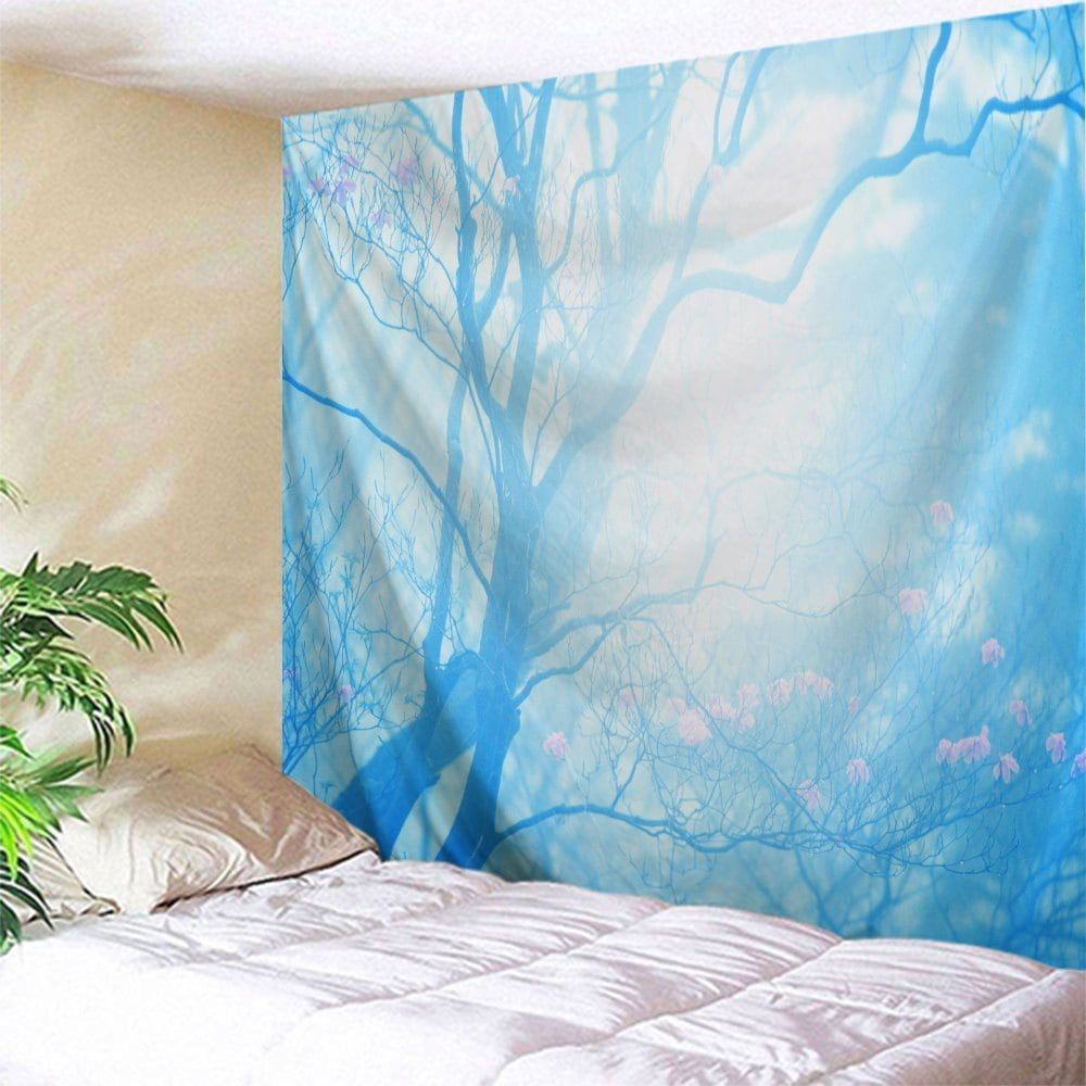 floral tree print tapestry wall hanging art ice blue w71 on walls coveralls website id=52546