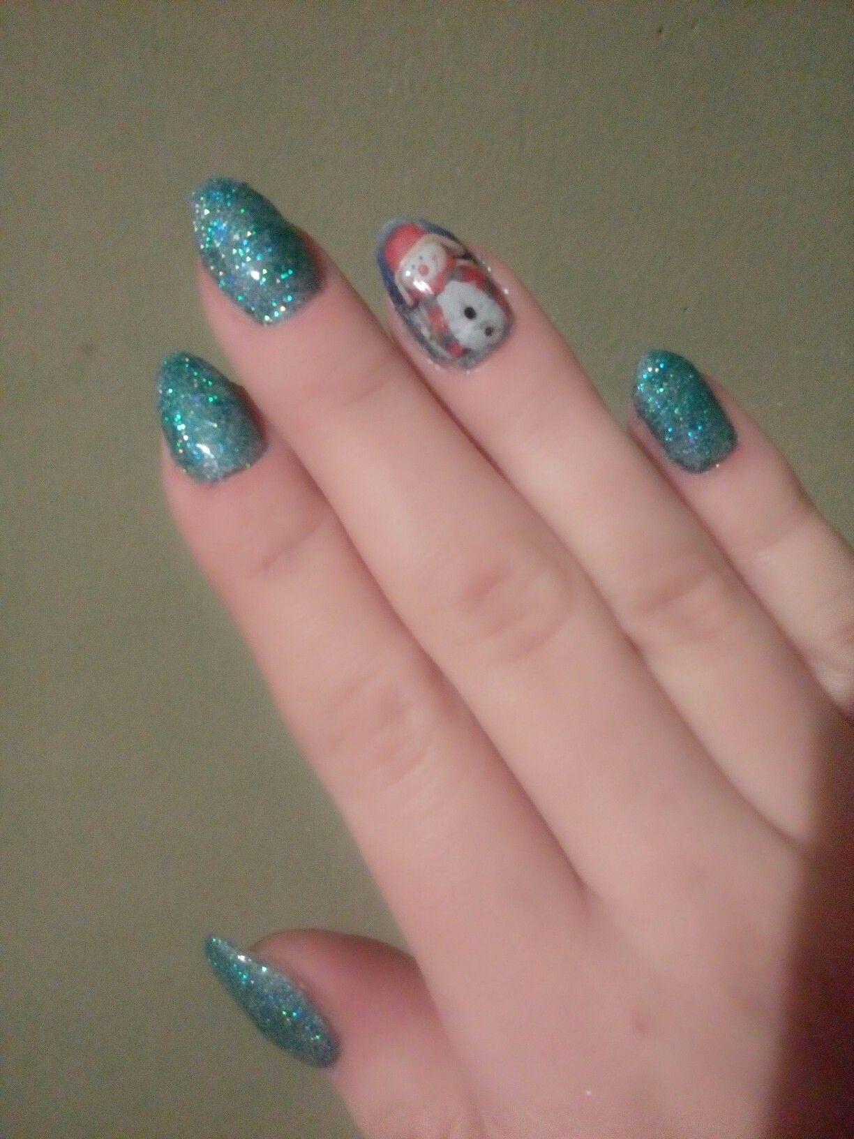 Christmas Nails Snowman Blue Winter Glitter