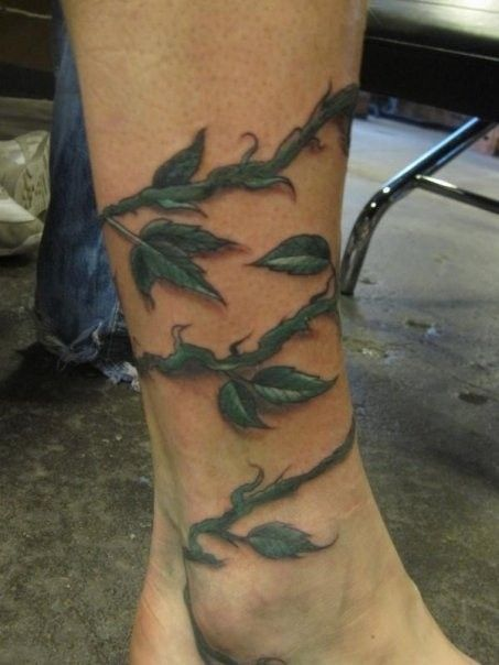 13c9f073d 3d realistic green vine ankle tattoo - Vine Tattoos - Tattooimages.biz