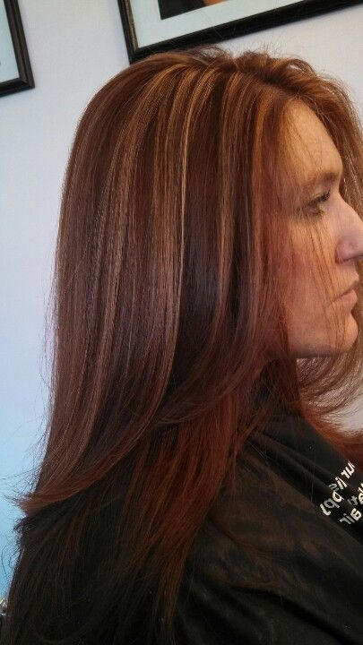 Red Copper Color With Caramel Highlights Hair By Me