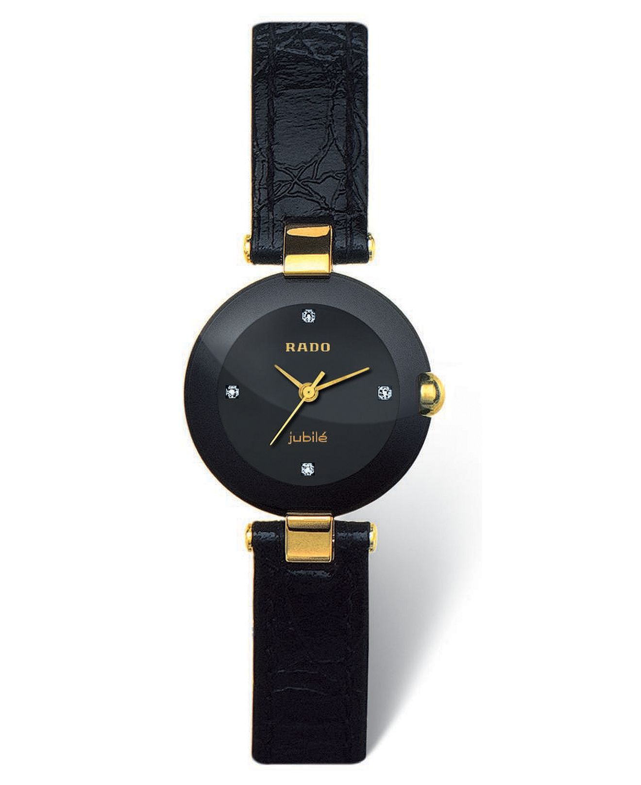 Rado Watch Coupole Jubile Black Leather Strap R22829715 Reviews Watches Jewelry Watches Macy S Watches Women Leather Watches Women Black Black Leather Strap