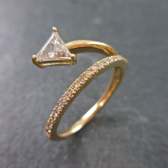 Triangle Diamond Ring Clear White Engagement Unique Abstract