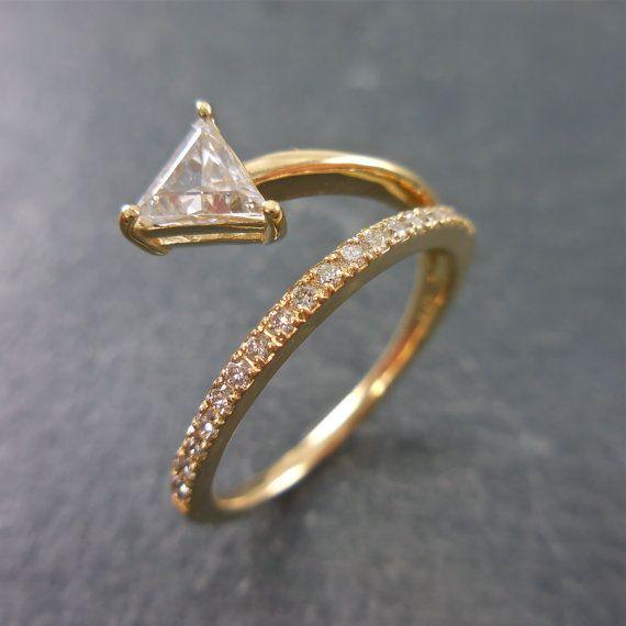 Triangle Diamond Ring, Geometric Diamond Engagement Ring