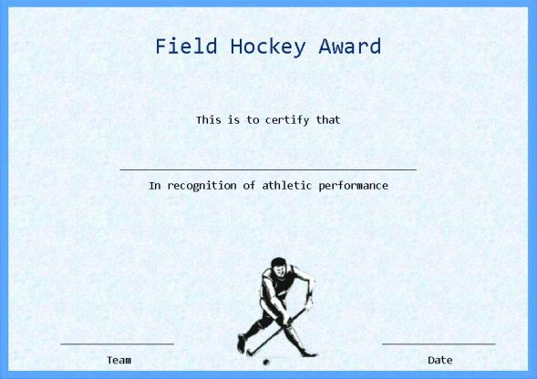 Field Hockey Certificate Template Word Hockey Certificate
