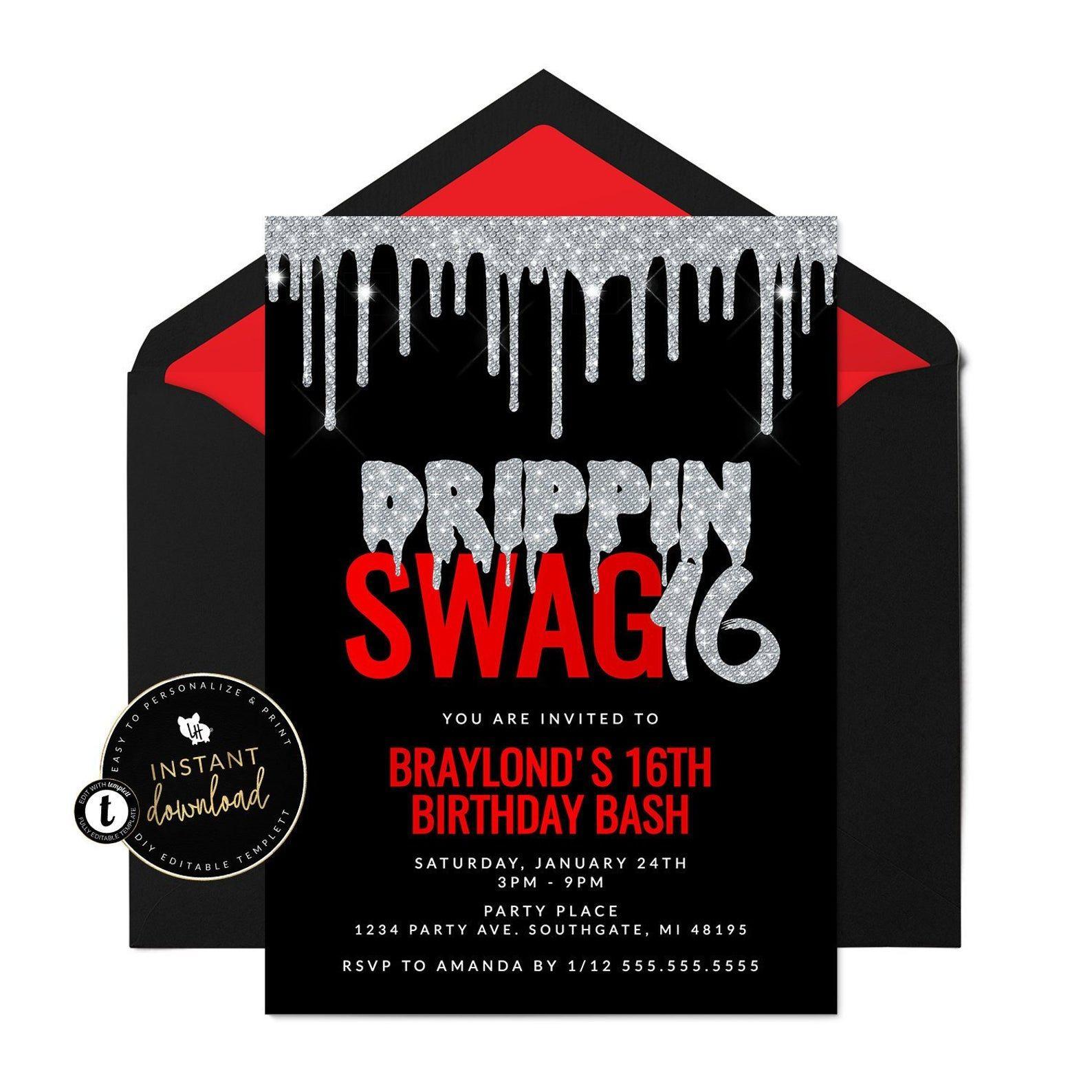 Drippin Swag 16 Invitation Bling Birthday Invitation Swag 16 Etsy In 2021 Boy 16th Birthday Sweet 16 Party Invitations Sweet 16 For Boys