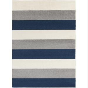 9 25 X 12 5 Bold Stripes Navy Blue Winter White And Steel Gray