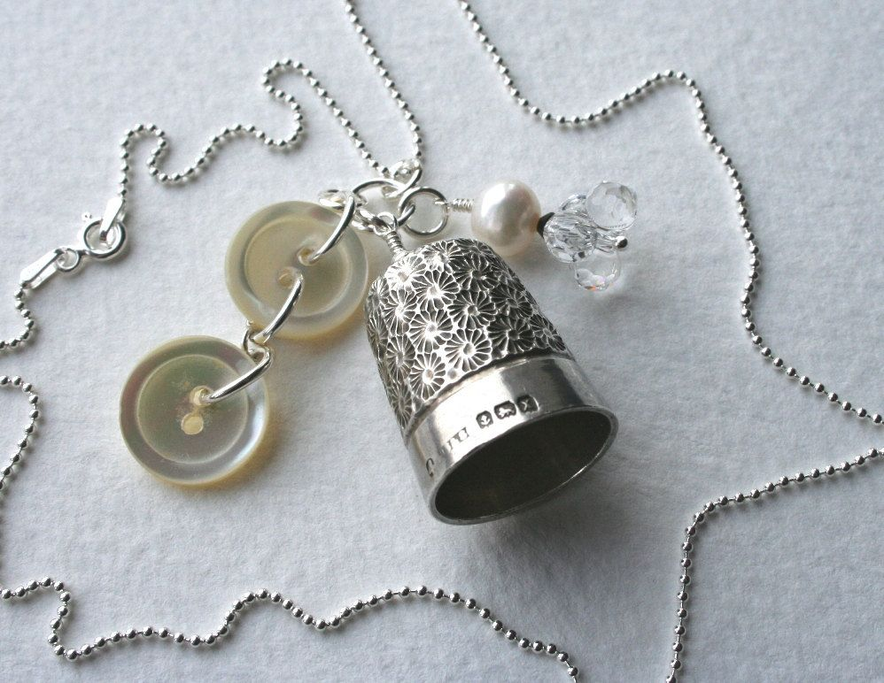 Silver Vintage Thimble Charm Necklace Pearl Buttons by MrsGibson