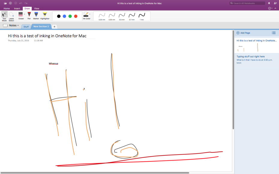OneNote for Mac now supports drawing with your trackpad or