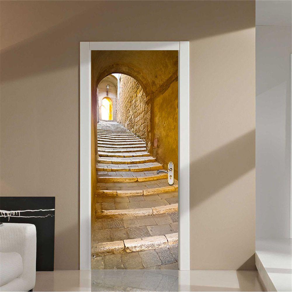200x77cm 3d Creative Stairs Passage Pvc Self Adhesive Door Wall